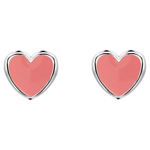 Ladybird Pink Enamel Heart Studs