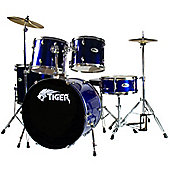 Tiger Full Size 5 Piece Beginner Drum Kit with Chrome Hardware - Blue