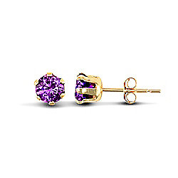 Jewelco London 9ct Yellow Gold studs claw-set with 3mm Solitaire purple CZ stone