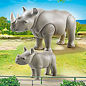 Playmobil 6638 City Life Zoo Rhinoceros with Baby