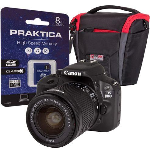 Canon EOS 100D Black Camera Kit inc 18-55mm IS Lens, 8GB Class 6 SD & SLR Bag