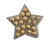 20 Multi Finish Christmas Bauble Decorations in Star Shaped Box - Gold