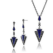 Gemondo 925 Sterling Silver Lapis Lazuli & Marcasite Art Deco Drop Earrings & 45cm Necklace Set