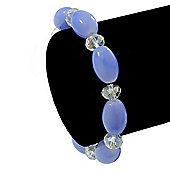 Violet Blue/ Transparent Glass Bead Stretch Bracelet - 17cm Length