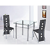 G&P Furniture 3 Piece Como Square Dining Set - Black