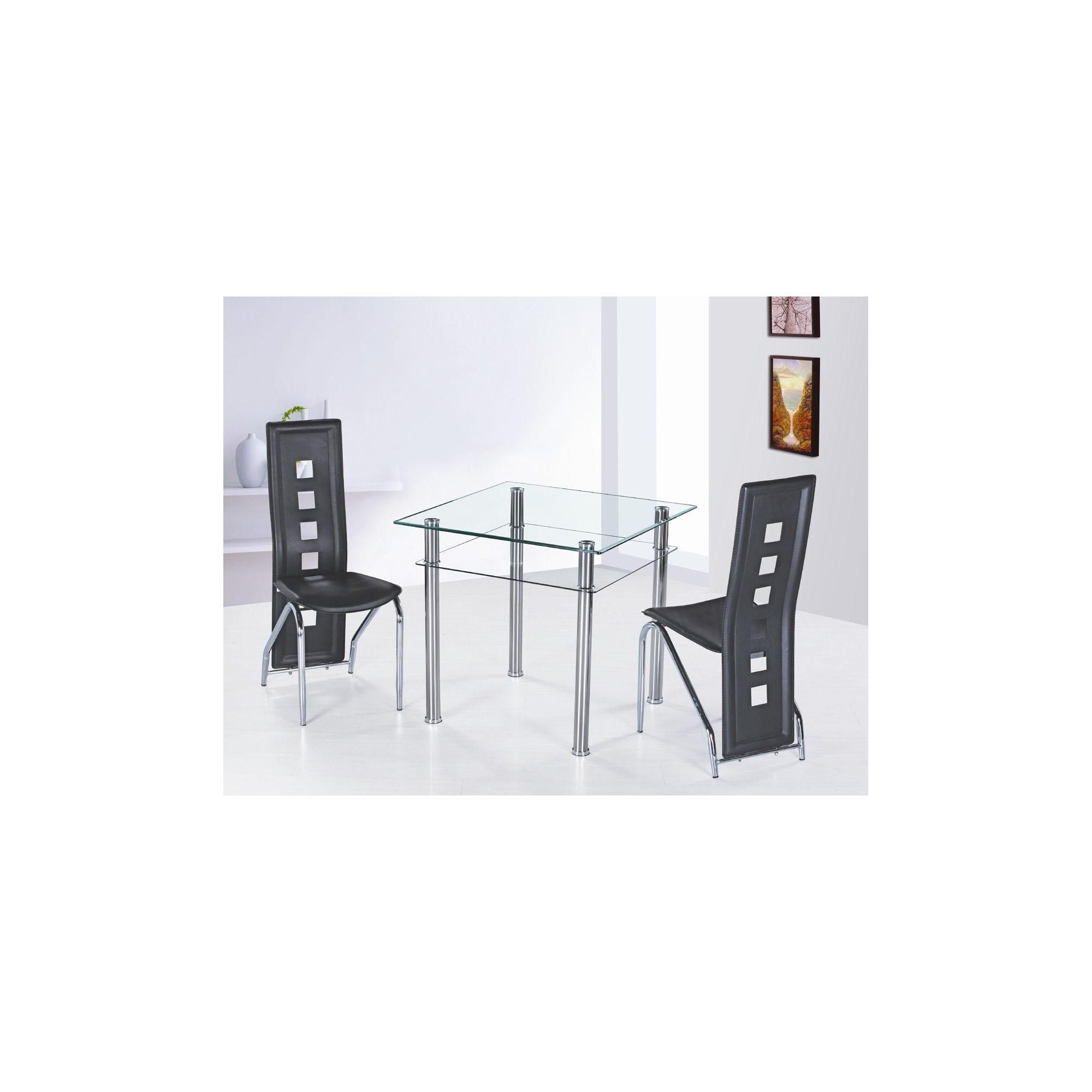 G&P Furniture 3 Piece Como Square Dining Set - Black at Tescos Direct