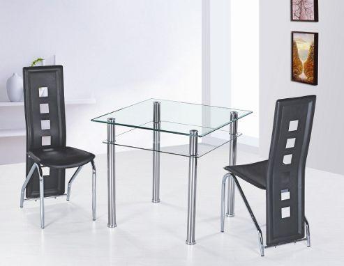 G&P Furniture 3 Piece Como Square Dining Set - Black