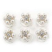 Bridal/ Wedding/ Prom/ Party Set Of 6 Rhodium Plated Crystal Pearl Floral Spiral Twist Hair Pins