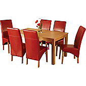 Home Essence Lawrence 7 Piece Dining Set with Red Chairs