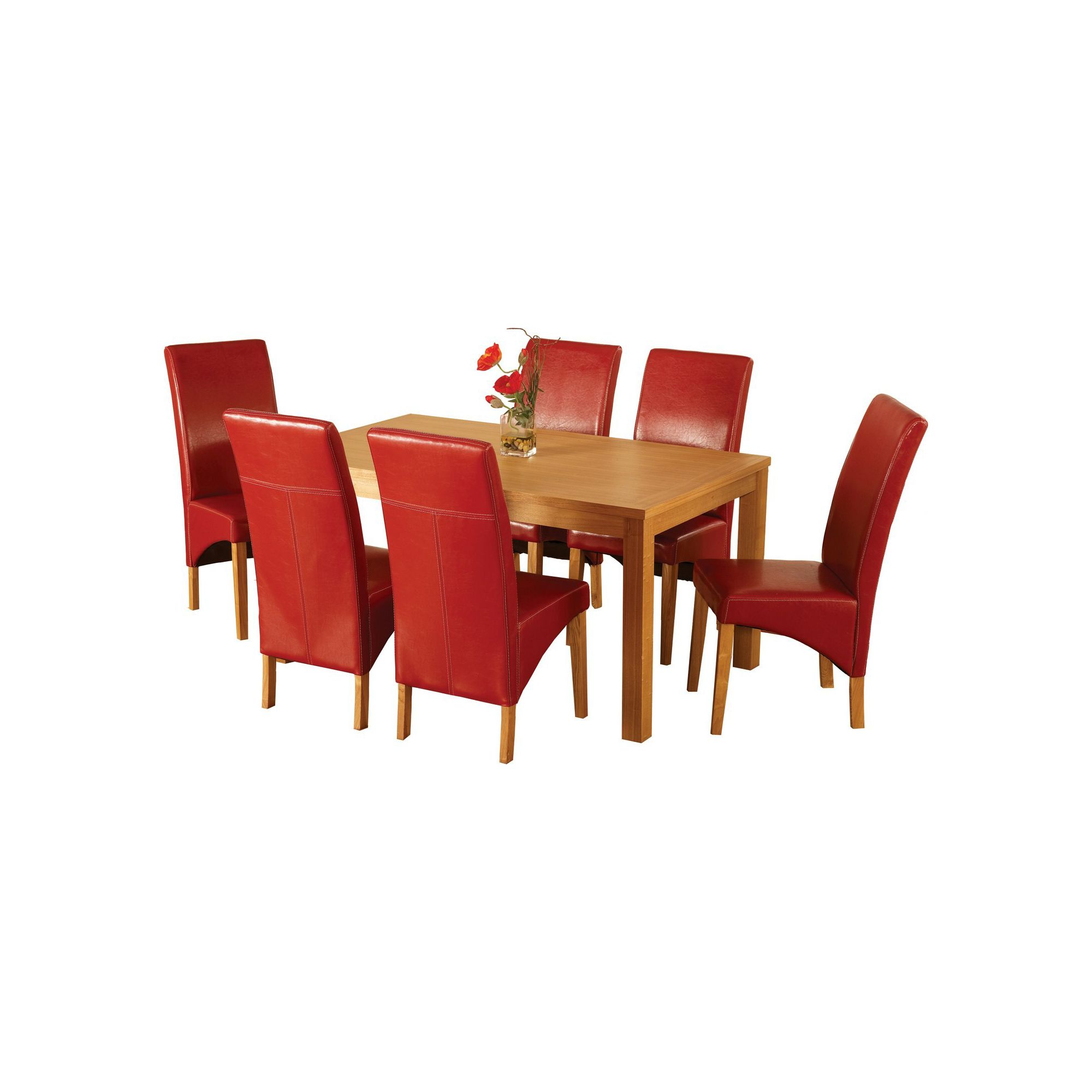 Home Essence Lawrence 7 Piece Dining Set with Red Chairs at Tesco Direct
