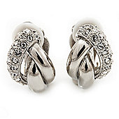 Rhodium Plated Diamante 'Braided' Clip On Earrings - 15mm Length