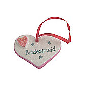 Bridesmaid Hot Pink Sparkle Heart