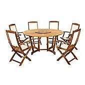 Henley 7pc Round Dining Set - Henley 150cm Round Gateleg Table & Lazy Susan, 6 Highback Armchairs