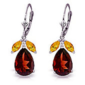 QP Jewellers Citrine & Garnet Pear Drop Earrings in 14K White Gold