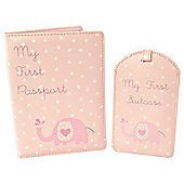 New Baby Girl Passport & Luggage Holder Gift Set