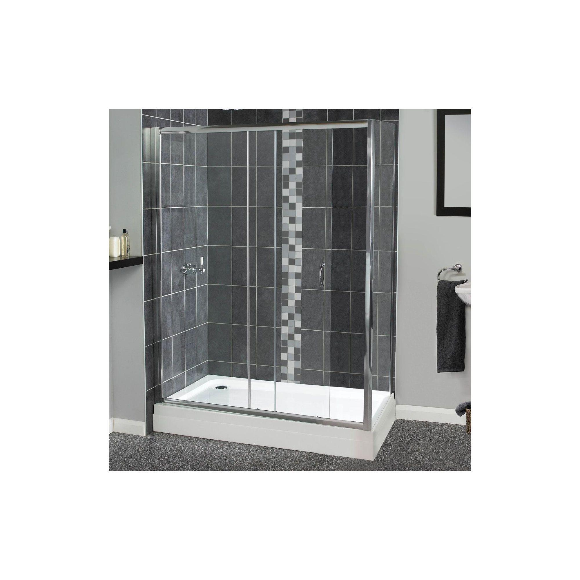 Aqualux Shine Sliding Shower Door, 1700mm Wide, Polished Silver Frame, 6mm Glass at Tesco Direct