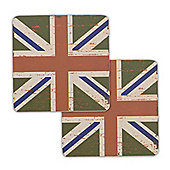 Union Jack Flag Coasters Vintage Design - 2 x Green
