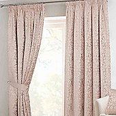 """Homescapes Latte Velvet Jacquard Pencil Pleat Lined Curtain Pair, 90 x 90"""""""