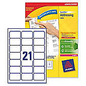 Avery Addressing Labels Laser Jam-free 21 per Sheet 63.5x38.1mm White Ref L7160-500 [10500 Labels]