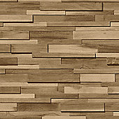 Muriva Thin Wood Blocks Wallpaper - Brown