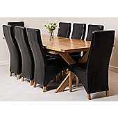 Vermont Solid Oak Extending 200 - 240 cm Dining Table with 8 Black Lola Leather Chairs