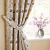 Homescapes Cotton Mauve Curtains Tie Backs Pair Butterfly Design