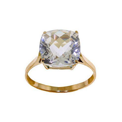QP Jewellers 3.60ct White Topaz Rococo Cushion Ring in 14K Gold - Size A