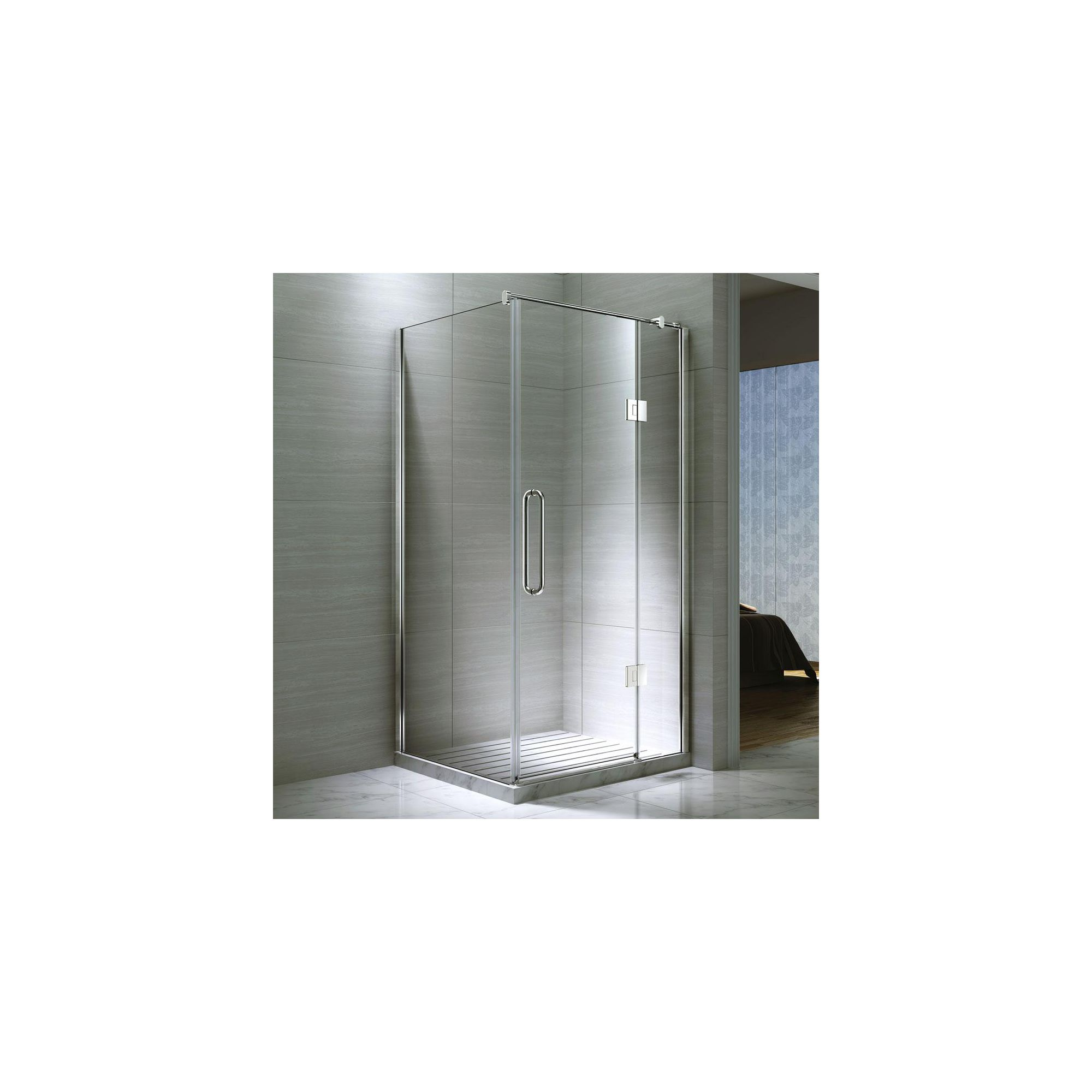 Desire Ten Hinged Shower Door with Side Panel, 1000mm x 800mm, Semi-Frameless, 10mm Glass at Tesco Direct