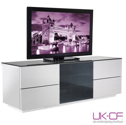 UK-CF High Gloss White Cabinet with Black Glass For TVs up to 60
