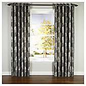 Bold Hand Painted Floral Eyelet Curtain Natural 64X72