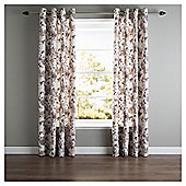 "Hand Painted Floral Eyelet Curtains W162xL183cm (64x72""), Natural"