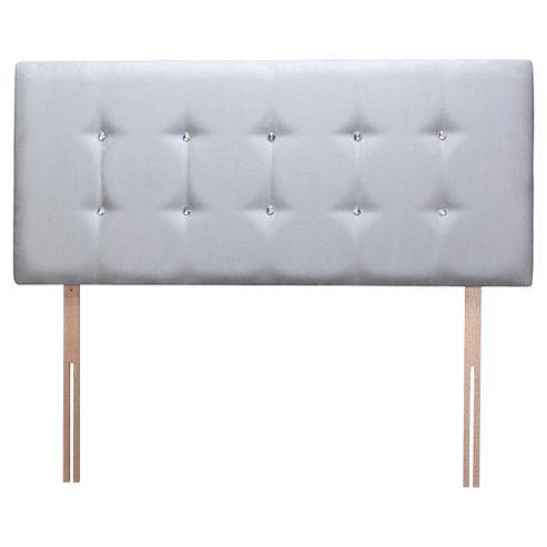 Seetall Sparkle Headboard Grey Faux Suede Double