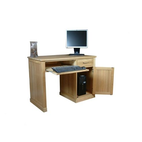 Buy baumhaus mobel oak single pedestal computer desk from our office desks tables range tesco - Tesco office desk ...