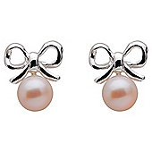 Sterling Silver Bow Earring with Pearl Drop