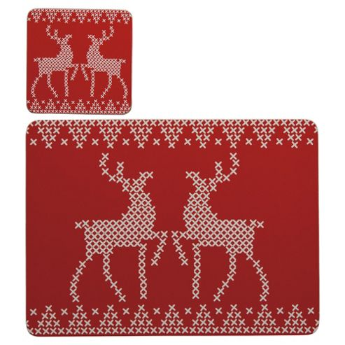 Tesco Scandi Reindeer Placemat & Coaster Set