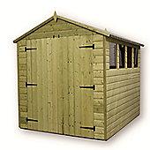 6ft x 6ft Premier Pressure Treated T&G Apex Shed + 3 Windows + Higher Eaves & Ridge Height + Double Doors