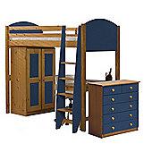 Verona High Sleeper Bed Set 3 Antique With Blue Details