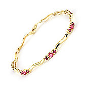 QP Jewellers 5in Diamond & Ruby Trinity Tennis Bracelet in 14K Gold