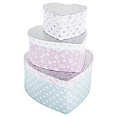 Tesco Floral and Hearts Storage Box, Set of 3