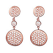 Rose gold plated sterling silver drop earrings with two pave discs