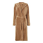 Fleece Robe With Hood In Mocha M/L
