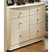 Welcome Furniture Coniston 6 Drawer Midi Chest - Cream