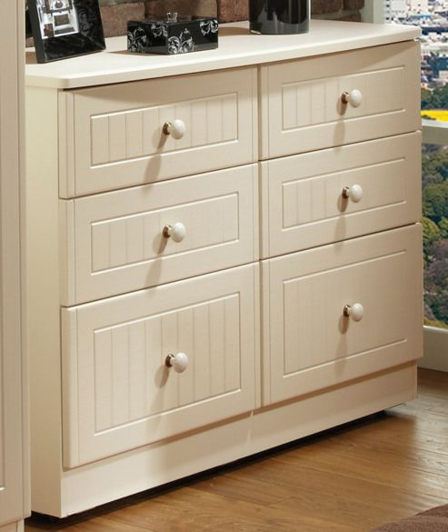 Welcome Furniture Coniston 6 Drawer Midi Chest - Cream