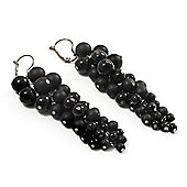Black Acrylic Bead Cluster Drop Earrings - 9.5cm Length