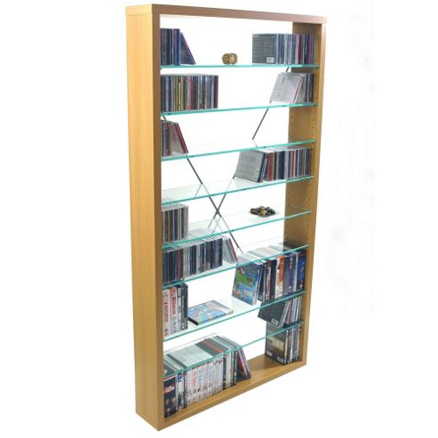 Techstyle CD / DVD / Media Glass Storage Shelves - Beech