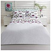 Tesco Digital Butterfly Duvet Cover And Pillowcase Set, - Multi & White