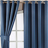 Homescapes Navy Blue Herringbone Chevron Blackout Curtains Eyelet Style, 90x54""