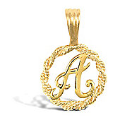 Jewelco London 9ct Gold Rope Initial ID Personal Pendant, Letter A - 0.9g