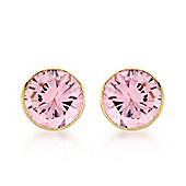 9ct Yellow Gold 5mm Round Pink CZ Stud Earrings