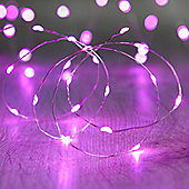 20 Micro Pink LED Battery Fairy Lights